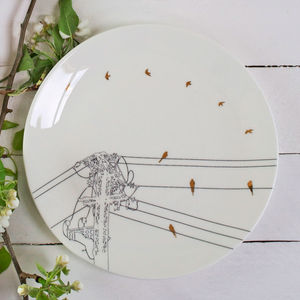 Bird On Wire Plate With 24 Carat Gold Detail - table decorations