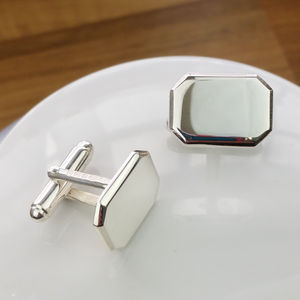 Personalised Silver Lozenge Shaped Cufflinks - personalised