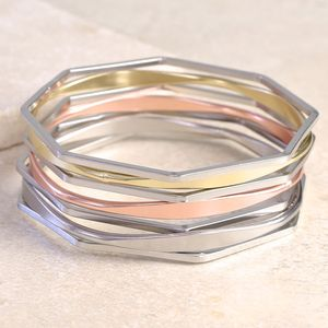 Geometric Mixed Metal Bangles