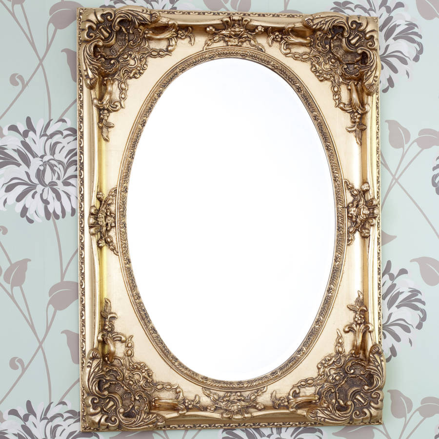 Gold ornate oval mirror by decorative mirrors online for Fancy mirror