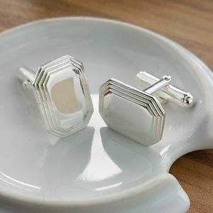 Silver Stepped Lozenge Cufflinks - men's jewellery