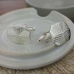 Silver Star Stepped Lozenge Cufflinks