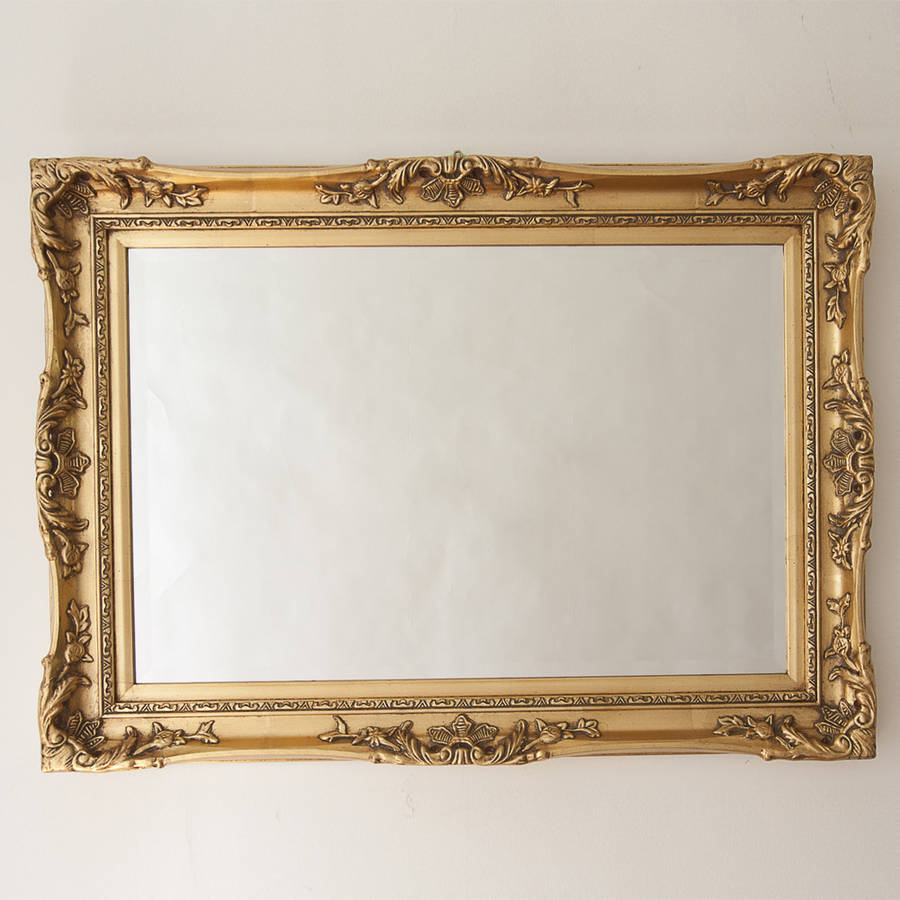 Elegant gold mirror by decorative mirrors online for Fancy mirror