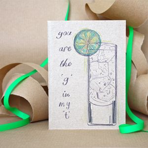 Gin And Tonic Card - valentine's cards