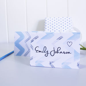 Personalised Blue Chevron Place Cards