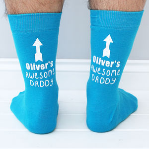 Personalised 'My Awesome Daddy' Ankle Print Men's Socks