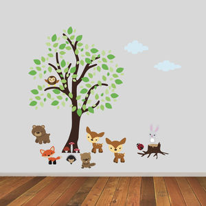 Tree With Woodland Animals Wall Sticker - children's room accessories