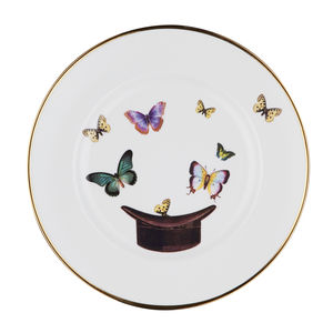 Hat And Butterfly Bone China Plate - tableware