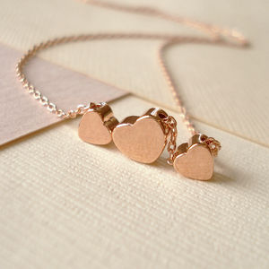 Rose Gold Floating Hearts Necklace - valentine's gifts for her