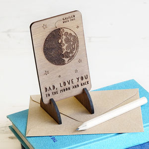 Wooden Moon And Back Message Card - gifts under £15