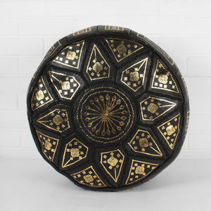 Moroccan Leather Fez Pouffe - living room
