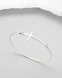 Sterling Silver Cross Bangle - bracelets & bangles