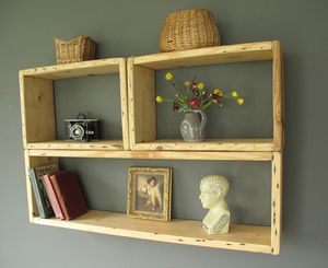 Modern Vintage Wood Shelving Units - laundry room