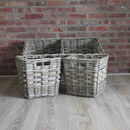 Rectangular Wicker Basket With Divider And Two Baskets