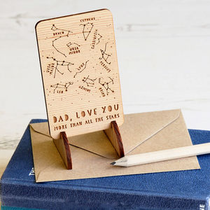 Wooden Star Constellations Message Card - horoscopes