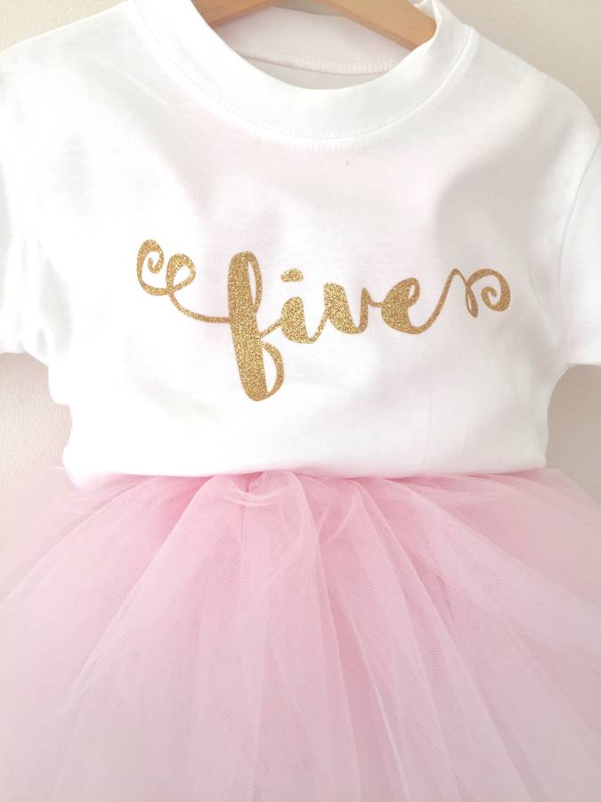 Childs Glitter Number T Shirt
