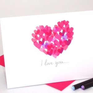 'I Love You' Watercolour Hearts Card