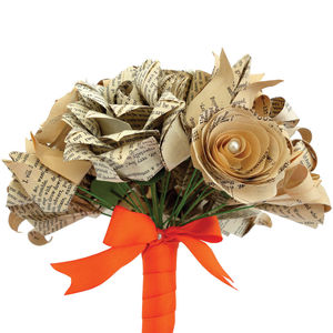 Eco Recycled Books Mixed Flowers Origami Bouquet - flowers & plants