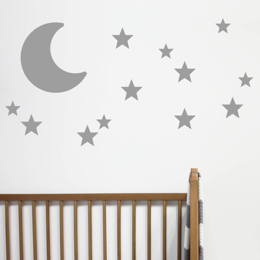 moon and stars wall stickers by little chip. Black Bedroom Furniture Sets. Home Design Ideas