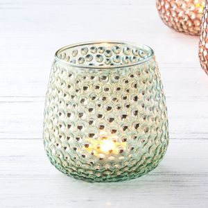 Turquoise Lustre Glass Tea Light Holder