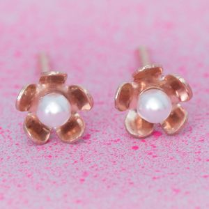 Anya Miniature Rose Gold Flower Earrings - earrings