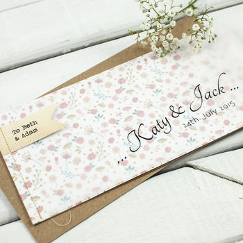 Country Floral Stitched Wedding Invite Booklet