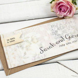 Floral Patchwork Stitched Wedding Invitation Booklet - invitations