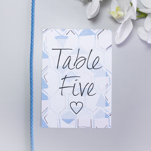 Personalised Blue Honeycomb Wedding Table Number Cards