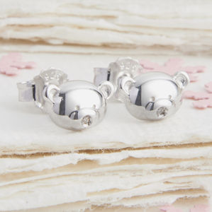 My First Diamond Teddy Bear Silver Earrings - christening jewellery