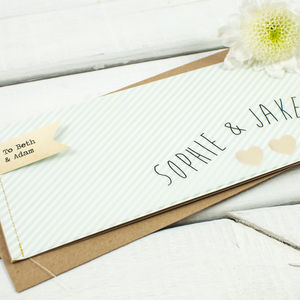 Mint Striped Stitched Wedding Invitation Booklet