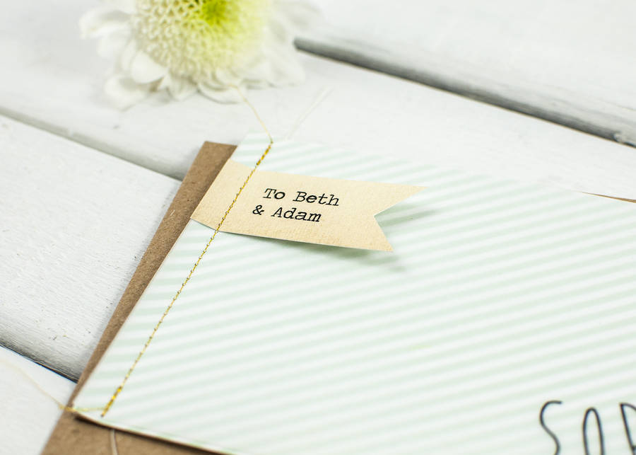 Striped Wedding Invitations: Mint Striped Stitched Wedding Invitation Booklet By Norma