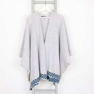 Grey Knitted Lambswool Blanket Cardigan