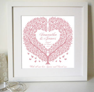 Personalised Rose Tree Heart Print