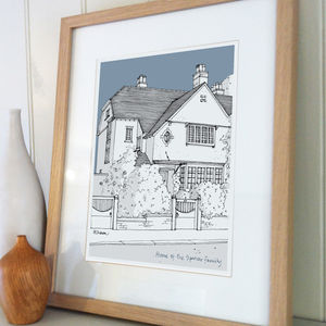 Personalised Architectural Style House Illustration - posters & prints