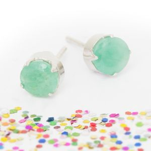 Claudia Sterling Silver Emerald Stud Earrings - earrings