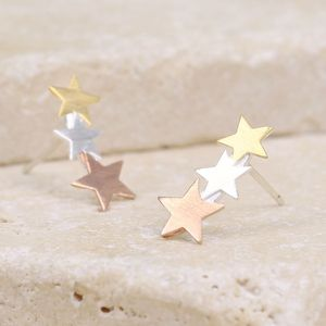 Mixed Metal Shooting Star Stud Earrings