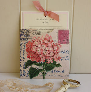 Pink Hydrangea Vintage Wedding Invitation - invitations