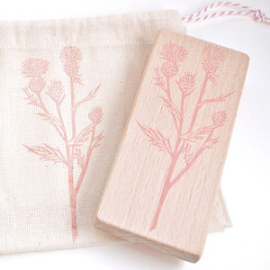 Botanical Thistle Hand Carved Rubber Stamp - ribbon & wrap