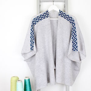 Knitted Lambswool Grey Cardigan