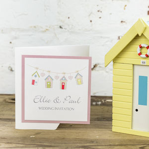 Beach Hut Wedding Invitation - wedding stationery