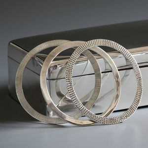 Trilogy Of Silver Flat Bangles - gifts for her