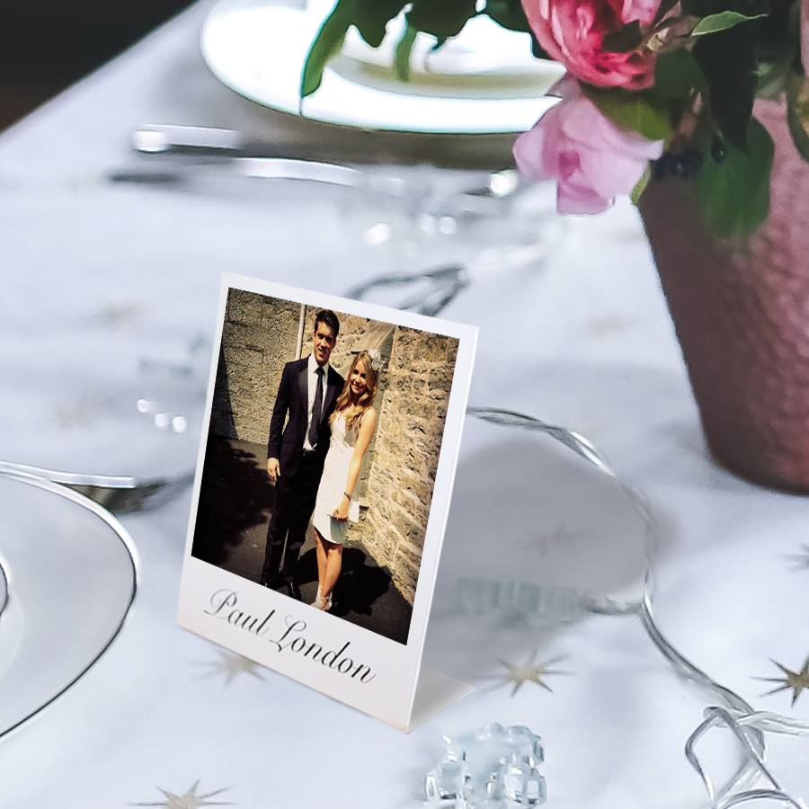 Personalised mini stand up place setting photo cards by for Place card for wedding