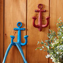 Large Iron Anchor Coat Hook In Blue