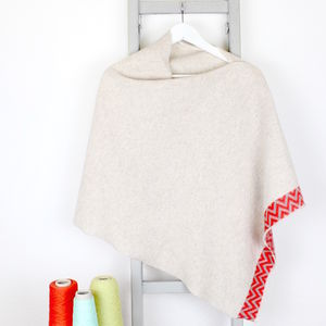 Oatmeal Knitted Lambswool Poncho - pashminas & wraps