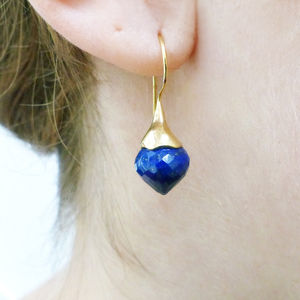Lapis Lazuli Vermeil Drop Earrings - earrings