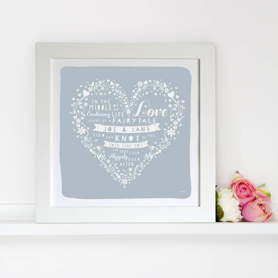 personalised wedding heart anniversary print by allihopa ...