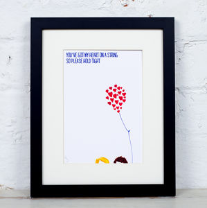 'Heart On A String' Couple With Balloon Art Print