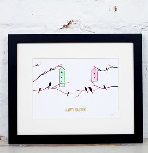 'Always Together' Watercolour Birdhouse Art Print