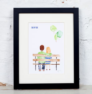 'Side By Side' Couple On Bench Watercolour Art Print