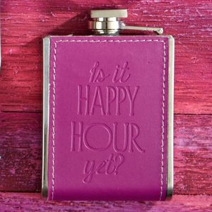 Purple Embossed Happy Hour Hip Flask - stocking fillers